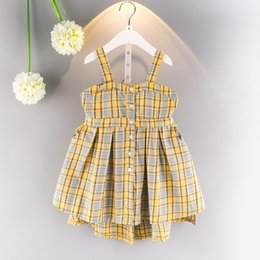 England Plaid Canada - England Style Braces Skirt Girls Plaid Dress with Suspender Backless Yellow Lattice Summer Cotton Clothes 3-7T