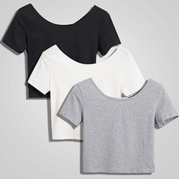 Wholesale blouse sold online – Lady Fashion Solid Women Scoop Neck Crop Tops Short Sleeve Bare Midriff Casual Blouse T Shirt Loose Cotton T Shirt Women Top Hot Sell