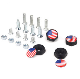 Car Chrome plating online shopping - Old Glory Star Spangled Banner USA Flag Black License Plate Screws Thread License Plate Bolt Frame Bolts Universal Screws chrome Car Styling