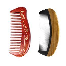 New Hair Cutting Men UK - New Horn Wooden Pocket Comb Hair Brush Tangle Detangling Massage Women Hairbrush Men Beard Grooming Styling Cut Gift Wholesale