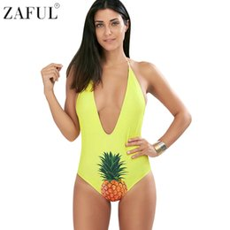 plunge swimsuits 2019 - ZAFUL 2017 Halter Pineapple Plunge Swimsuit Sexy Unique Print One Piece Swimwear Backless Bodysuit Retro Beach Bathing S