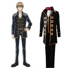 Großhandel Gintama Shinsengumi Team Okita Sougo / Kondou Isao Cosplay Uniform Anzug Tuch