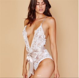 Wholesale white rompers resale online – Holy White Thin Sexy V Neck Jumpsuits Women Lace Slim Ribbon Bodysuit Slimming High Waist Rompers