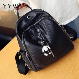$enCountryForm.capitalKeyWord NZ - Black PU Leather Backpack Female Laptop Backpacfor Women and Adolescent Girls New Mini Travel School Bag with Doll Pendant