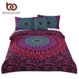 california king beds 2019 - Wholesale-BeddingOutlet Bohemian Bedding Set Mandala Duvet Cover Set Posture Million Romantic Soft Bedclothes Plain Twil