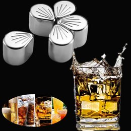 wine alcohol 2019 - Stainless Steel Coolers Stone Whiskey Cooler Wine Beer Stones Ice Cooler Rock Ice Sakura Petal Cube Alcohol Cooled Metal