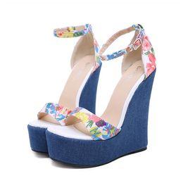 e6a3d2be1c 16cm Denim blue floral printed platform wedge shoes ladies super high heels  summer sandals size 35 to 40