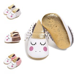 Wholesale Unicorn Baby Walking Shoes infant Moccs Moccasins First Walkers with tassels soft sole PU Leather shoes