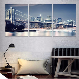 $enCountryForm.capitalKeyWord Australia - 3 Pcs New York City Night Posters And Prints Home Decor Wall Art Picture Canvas Painting Cuadros Decocation No Frame
