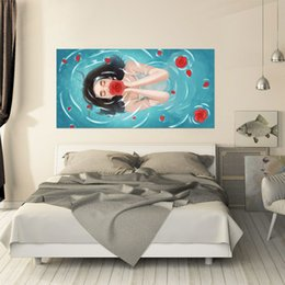 Wallpapers Abstract Cartoon Blue Fresh Girl With Flower Headboard Background Wall Sticker Landscape Poster Beddecor Bedroom Home Wallpaper Fine Craftsmanship