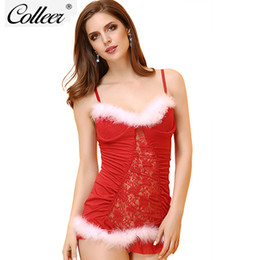 Cosplay Underwear Canada - wholesale  Christmas Lingerie 2018 fastion Underwear Sexy Women Deep V Perspective Mesh Dress+Thong Red Mrs Santa Cosplay bra set