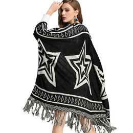 China Women Knitted Sweater Cardigan Black Autumn Winter Long Stars Pattern Batwing Sleeve Tassel Boho Chic Vintage Cardigans Coats cheap batwing cardigan knit pattern suppliers