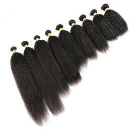 Kinky Straight Hair For UK - Top 10A Brazilian Kinky Straight Human Hair Weave Bundles 100% Remy Hair Extensions Wefts Natural Black Color For African Women