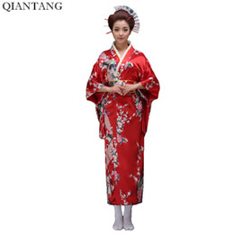 hot dress japanese 2019 - Hot Sale Red Vintage Japanese Women's Silk Satin Kimono ropa Mujeres japonesas Yukata Dress Peafowl One Size Free S