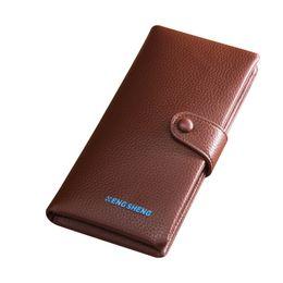 Cheap Wallets NZ - Free shipping HENGSHENG zipper men wallet with top quality leather long men wallet of cheap price boy male long wallets