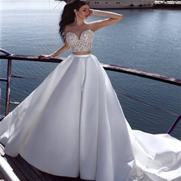 wedding dress applique pieces NZ - Said Mhamad Two-Piece Wedding Dress Jewel Neck Lace Applique See Through Long Sleeve A-Line Bridal Gown Cheap Plus Size Wedding Dresses
