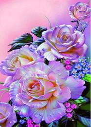 diy diamond painting roses 2019 - Full diamond embroidery flower rose picture Needlework cross stitch diamond Diy mosaic diamond Painting Purple gift home