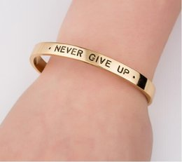 quote bracelets NZ - Personalized Inspirational Bracelets Quote Never Give Up Letter Alphabet Ring Women Luxury Graduation Jewelry Gift for Women SZ097