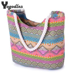Discount stripe canvas tote beach bags - Casual Summer Beach Women Bag Lunch bag Hot Sale Fashion High Quality Canvas Striped Handbags Shoulder Bag
