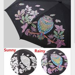$enCountryForm.capitalKeyWord NZ - Cute Owl Three Folding UV-Protection Rain Travel Umbrellas Magic Changing Color After Water Pocket Umbrella Gift for Lovers