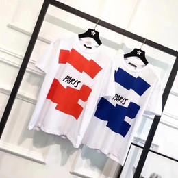 Venta al por mayor de Primavera verano 2018 Europa de lujo Malletier París 1854 de alta calidad Graphiclogo camiseta moda hombres mujeres camiseta Casual algodón Tee Top