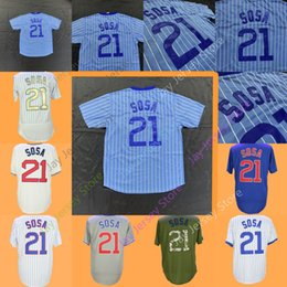 Button downs online shopping - Sammy Sosa Jersey Baby Blue White Pinstripe Cream Grey Blue Home Away Pullover Button Down Green Salute to Service