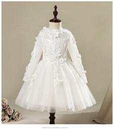 $enCountryForm.capitalKeyWord Australia - Beaded Appliques Tulle Girl Wedding Party Princess First Communion Dress Flower Girls Dress for Baby Baptism Kids Formal Wear