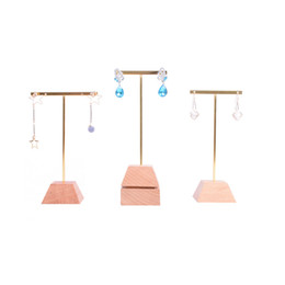 $enCountryForm.capitalKeyWord UK - Jewelry Dangling Earring Display Stand Beech Solid Wood Base with Metal Cross T Bar Boutique Showcase Shelf Trade Show Earring Holder