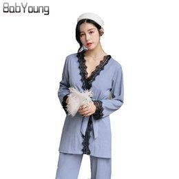 BabYoung Winter Women Pajamas Set Cotton Lace Patchwork Pyjama Femme  Nightwear Long Sleeve Ladies Sleepwear Pijama Mujer Gray PJ 254ec71b4