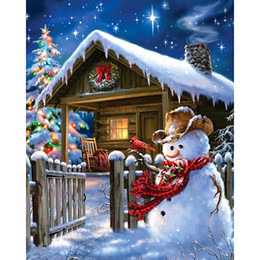 Dia Paintings NZ - embroidery Snowman and house dia mond painting 5d diy diamond Cross Stitch full round Rhinestone mosaic home decoration