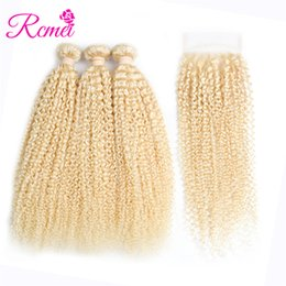 Chinese  Rcmei Brazilian Human Hair 613#Blonde 3 Bundles Kinky Curly Human Hair Extension With 4*4 Lace Closure Kinky Curly Unprocessed Hair Bundles manufacturers
