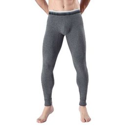 low waist cotton leggings UK - Winter thermal underwear men long johns thermo pants comfy cotton sexy bulge leggings slim fit pant for man sleepwear low waist