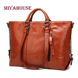 Miyahouse Oil Wax Leather Tote Handbag Foe Vintage Leather Shoulder Bag  Women Female Large Capacity Handbag Lady 9723eff8df