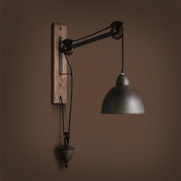 Metal Shade Wall Light Australia - Vintage Loft Minimalist Wooden Long Arm Wall Lamp Shade with Adjustable Handle Metal Rustic Light Fixtures without Light Bulb