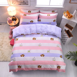 $enCountryForm.capitalKeyWord Australia - New good quality bedding lion animal monkey Hot Design quilt cover pink purple white sheets cute children twin full queen king