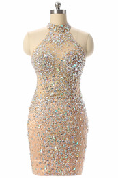 Champagne Luxury Prom Dress UK - Luxury Champagne Short Prom Dresses Mermaid 2017 Beading Crystal Imported Party Dress Vestido Formatura Evening Gowns