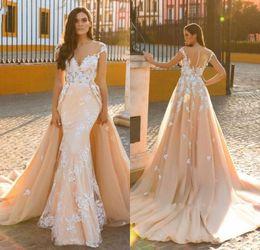 $enCountryForm.capitalKeyWord NZ - 2018 Arabic Detachable Train Mermaid Wedding Dresses V Neck Cap Sleeves Lace Appliques Sheer Open Back Court Train Plus Size Bridal Gowns