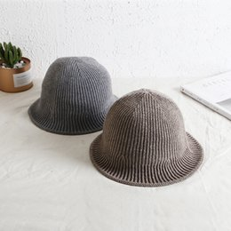 abad0af624402 2018 Winter Wool Blended Fabric Hat Women s Knitted Wool Bucket Hats Solid  Color Floppy Bob Sun Visor Caps Men Casual Cap H027