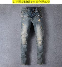 $enCountryForm.capitalKeyWord Canada - Men Distressed Ripped Jeans Fashion Designer Straight Motorcycle Biker Jeans Causal Denim Pants Streetwear Style mens Jeans Cool