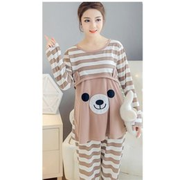 2017 Maternity Breastfeeding Sleepwear Nursing Pajamas Set Long Sleeve Loose Clothes For Pregnant Women Cotton B0228