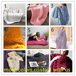 thick warm blankets 2018 - 120*150cm Warm Chunky Knit Blanket Thick Woven Yarn Wool Bulky Knitted Throw Photograph Blanket Multi Color Free Shippin