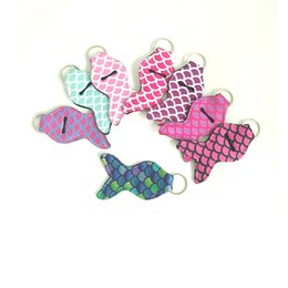 Chinese  Lily Mini Cute Neoprene Mermaid Chapstick Cover Holder Keychains Lip Gross Chapsticks Wrap Key Ring Fashion Sleeves Random Color Send H773Q manufacturers