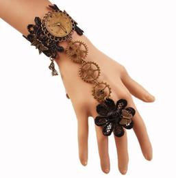 $enCountryForm.capitalKeyWord NZ - free new Fashion vintage black lace bracelet women's steam engine gear hand ornaments band ring stylish classic elegant