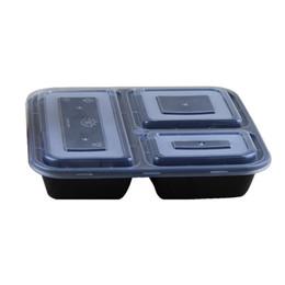 Le moins cher !!! Contenants alimentaires US compartiment micro-ondes respectueux de l'environnement 3 compartiments Boîte à bento déjeuner jetables noir Préparation de repas 1000ml en Solde