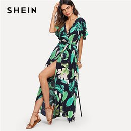 736dbbb52e0 20187 SHEIN Multicolor Vacation Boho Bohemian Beach Jungle Leaf Print Self  Belted Wrap High Waist Maxi Dress Summer Women Sexy Dress