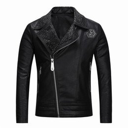 Faux leather jackets designer casual slim online shopping - Top Quality Brand Men s PU Faux Leather Jackets Coats Skull Heads Outerwear winter Slim For man Zipper US dollar Designer A