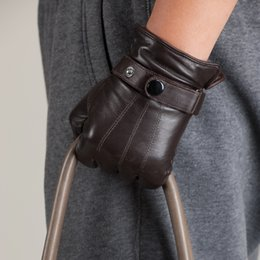 Men Gloves Leather Sheepskin Australia - Fashion Winter Men Leather Gloves Thermal Sheepskin Gloves Genuine Leather Touch Screen Male Driving