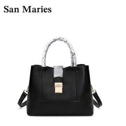 San Maries Luxury Handbags Women Bags Designer Snake Pattern Handle Cow  Leather Black Tote Famous Brand Purses And Handbags 2018 0550bd469026e