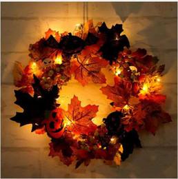 Halloween Home Decor Wreath Front Door Simulazione Maple Leaf Autumn Pumpkin con 2 metri Twenty Lamp