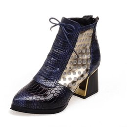 Platform Glitter Ankle UK - Female Short mesh boots single boots with snakeskin shoes platform fashionable monophonic spring-autumn with women's shoes. XZ-047
